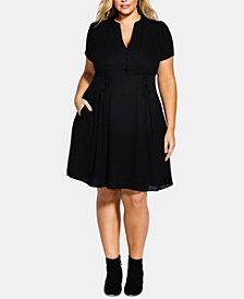 City Chic Trendy Plus Size Lace-Up A-Line Dress