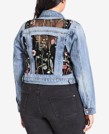 City Chic Trendy Plus Size Cotton Garden Floral Jean Jacket