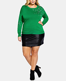 City Chic Trendy Plus Size Embellished Sweater