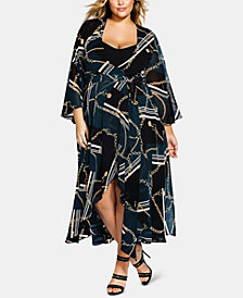 City Chic Trendy Plus Size Chain-Print Wrap Dress