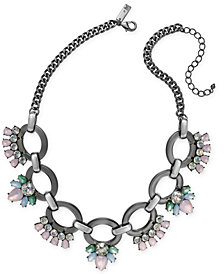 """I.N.C. Hematite-Tone Crystal Link Statement Necklace, 18"""" + 3"""" extender, Created for Macy's"""