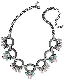 "I.N.C. Hematite-Tone Crystal Link Statement Necklace, 18"" + 3"" extender, Created for Macy's"