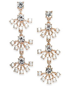 I.N.C. Crystal & Imitation Pearl Linear Drop Earrings, Created for Macy's