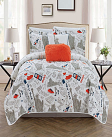 Chic Home New York 5 Piece Full Quilt Set