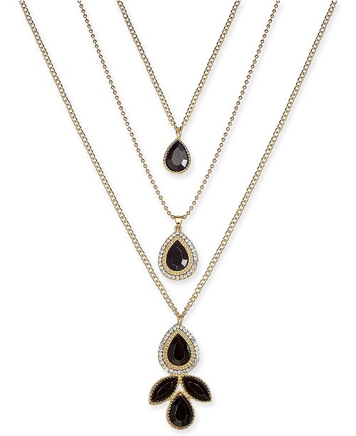 """Thalia Sodi Gold-Tone Crystal & Stone Triple-Layer 18"""" Statement Necklace, Created for Macy's"""