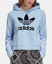 low priced 68473 3922c adidas Originals Cotton Flocked-Logo Cropped Hoodie
