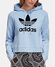 adidas Originals Cotton Flocked-Logo Cropped Hoodie