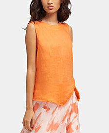 DKNY Linen Asymmetrical Fringe-Hem Sleeveless Top