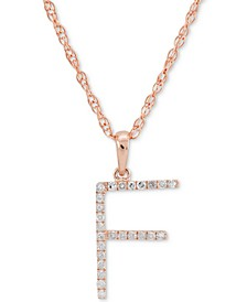 """Diamond (1/10 ct. t.w.) Initial Pendant Necklace in 10k Rose Gold, 16"""" + 2"""" extender"""