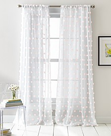 "Ella Pompom Dot 50"" x 84"" Sheer Curtain Set"
