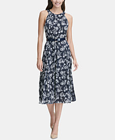 Tommy Hilfiger Belted Printed Midi Dress