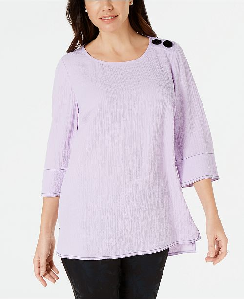 ff70a6bf9920bd JM Collection Button Crinkled Top, Created for Macy's & Reviews ...