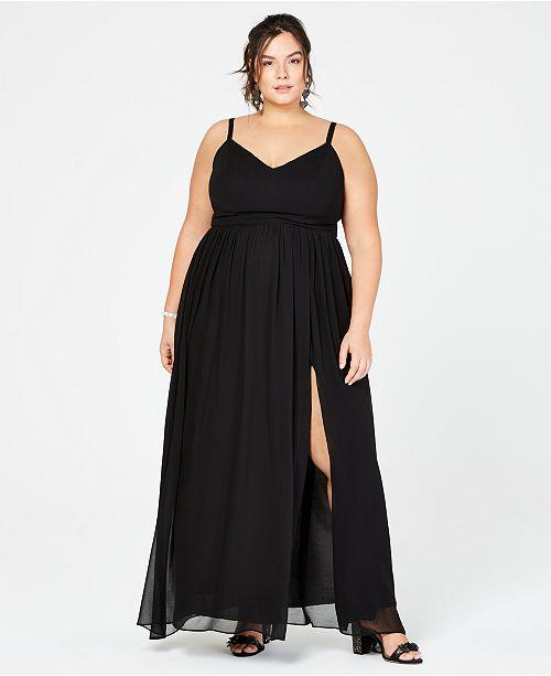 City Studios Trendy Plus Size Chiffon Slit Gown