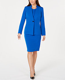 Kasper Inverted-Collar Jacket & Colorblocked Sheath Dress