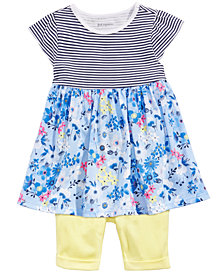 First Impressions Baby Girls Floral-Print Striped Tunic & Bermuda Shorts, Created for Macy's