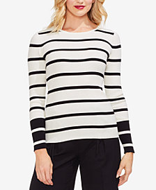 Vince Camuto Striped Colorblocked Cotton Sweater