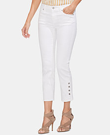 Vince Camuto Button-Cuff Cropped Jeans