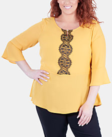 NY Collection Plus Size Lace-Trim Peplum Blouse