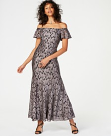 Nightway Off-The-Shoulder Glitter Lace Gown