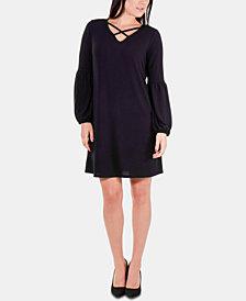 NY Collection Petite Lattice-Neck Dress