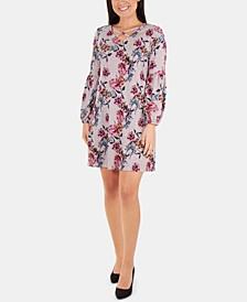 Petite Printed Lattice-Neck Dress