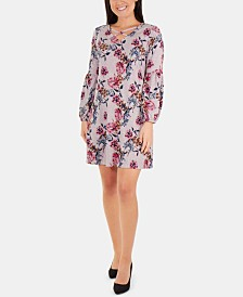 NY Collection Petite Printed Lattice-Neck Dress
