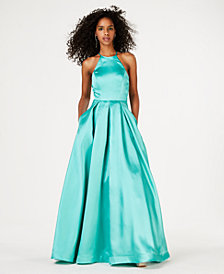 B Darlin Juniors' Crisscross-Detail Gown