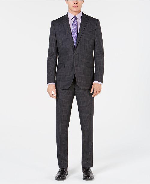 Kenneth Cole New York Men's Slim-Fit Plaid Performance Suit