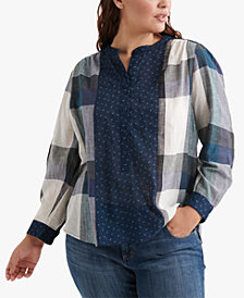 Lucky Brand Cotton Plus Size Plaid Print Top
