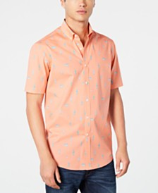 Club Room Men's Short Sleeve Cactus-Print Shirt, Created for Macy's