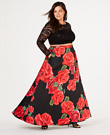 B Darlin Trendy Plus Size 2-Pc. Floral-Print Gown