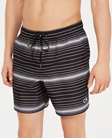"Calvin Klein Men's 5.5"" Stripe Volley Swim Trunks, Created for Macy's"