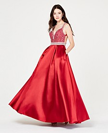 Juniors' Jewel-Top Ballgown, Created for Macy's
