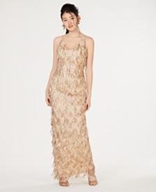 Teeze Me Juniors' Fringe Sequin Gown