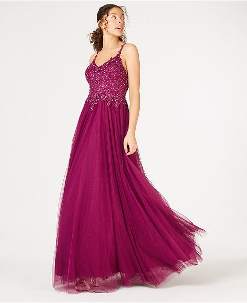 Say Yes to the Prom  Juniors' Rhinestone Appliqué Gown, Created for Macy's