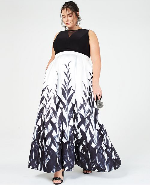 Morgan & Company Trendy Plus Size Illusion Printed Gown, Created for ...