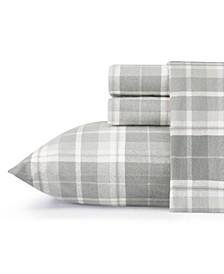 Mulholland Plaid Medium Grey Twin Flannel Sheet Set