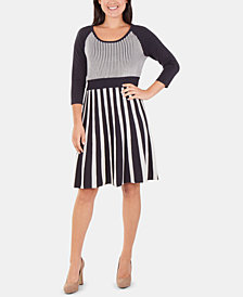 NY Collection Striped Fit & Flare Sweater Dress