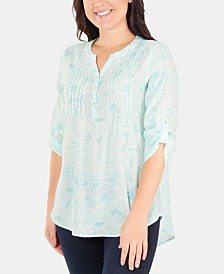 NY Collection Printed Pintuck-Pleat Top