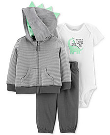 Carter's Baby Boys 3-Pc. Dino Hoodie, Bodysuit & Pants Set