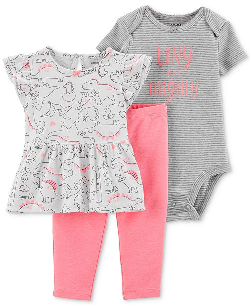 Carter's Baby Girls 3-Pc. Dino-Print Cot Top, Bodysuit & Leggings Set