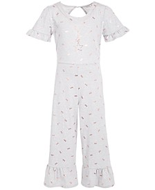 Big Girls Printed Tie-Waist Jumpsuit With Necklace