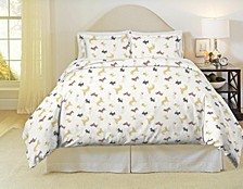 Winter Dogs Print Heavy Weight Cotton Flannel Duvet Set Full Queen