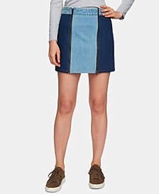 1.STATE Colorblocked Zip Front Denim Skirt