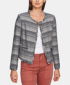 1.STATE Cotton Tweed Fringe Jacket