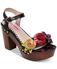 Betsey Johnson Rosee Flower Wood Clog Sandals