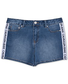 Calvin Klein Big Girls Logo Taped Shorts
