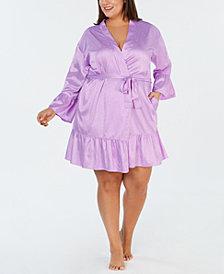 I.N.C. Plus Size Satin Jacquard Flounce Wrap Robe, Created for Macy's