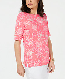 Karent Scott Printed Elbow-Sleeve Boat-Neck Top, Created for Macy's