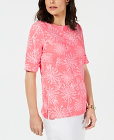 Karen Scott Printed Elbow-Sleeve Boat-Neck Top, Created for Macy's
